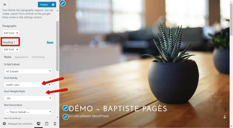 Comment changer la police des h1 sur WordPress avec le plugin Easy Google Fonts - Capture d'écran