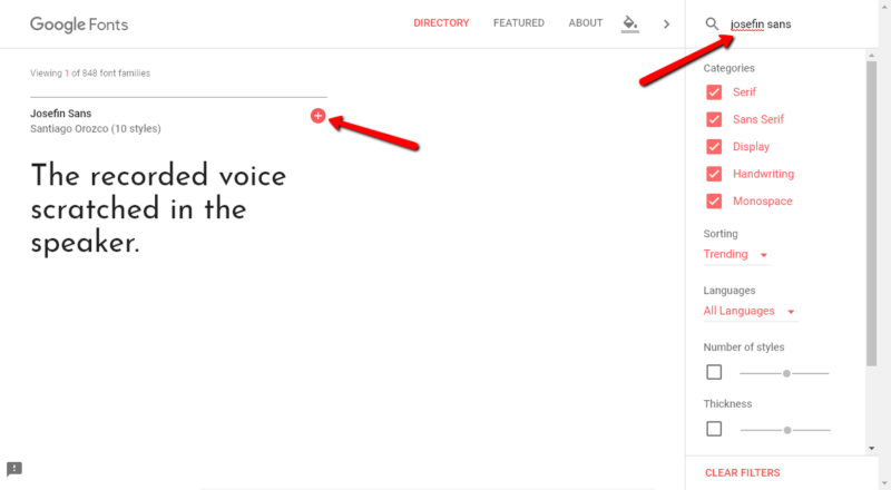 Utiliser Google Fonts pour trouver des polices pour WordPress - Capture d'écran