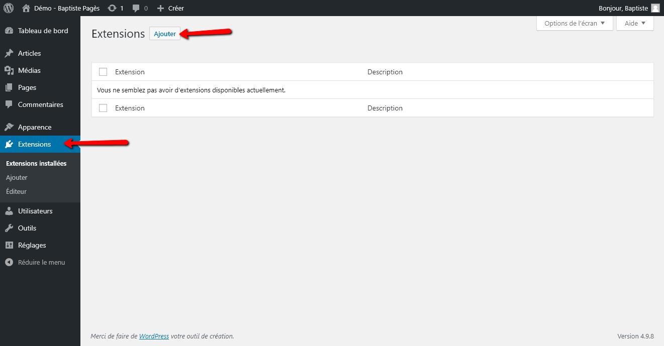 Réinstaller un site WordPress - Capture d'écran 1