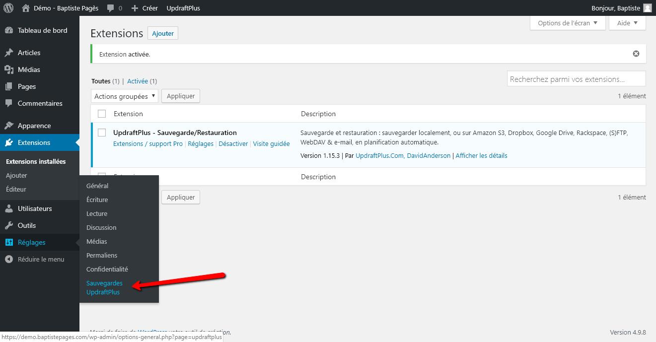 Réinstaller un site WordPress - Capture d'écran 3 - Sauvegarder avec Updraft