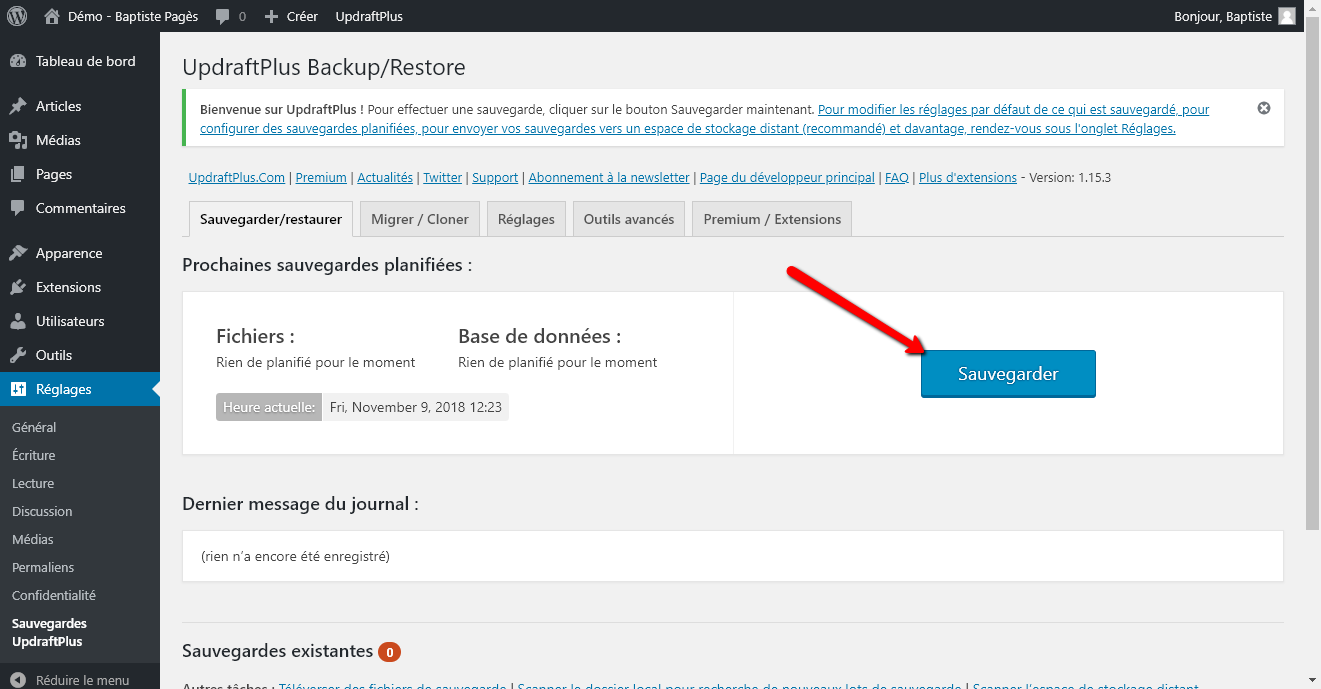 Réinstaller un site WordPress - Capture d'écran 4