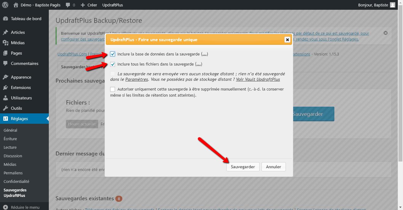 Réinstaller un site WordPress - Capture d'écran 5