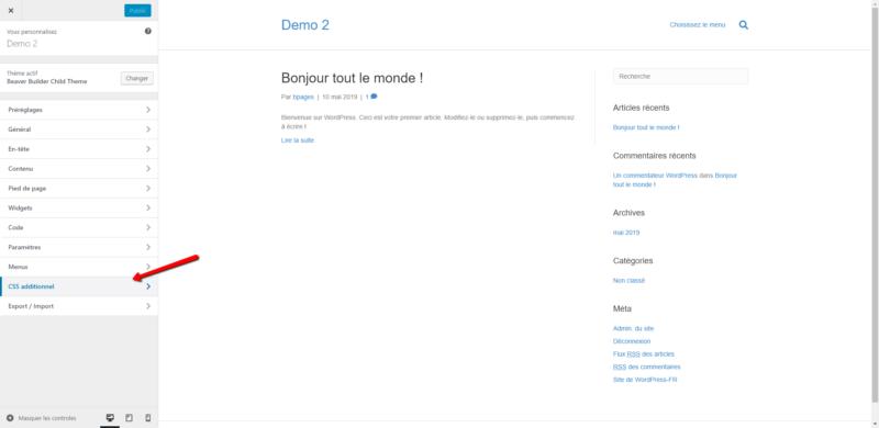 """Image montrant le panneau de personnalisation WordPress et le bouton """"CSS additionnel"""""""