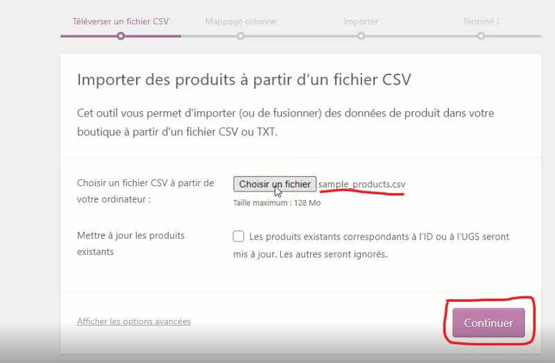 Outil d'importation de produits de WooCommerce.