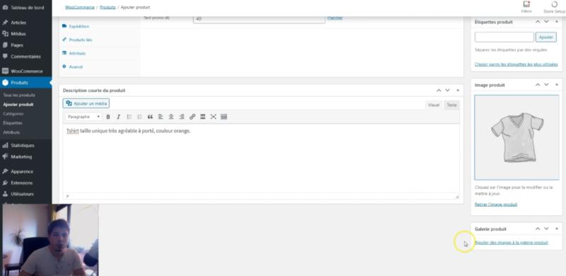 """Capture d'écran du cadre """"Galerie produit"""" pour ajouter des images dans la galerie d'un produit simple sur WooCommerce"""