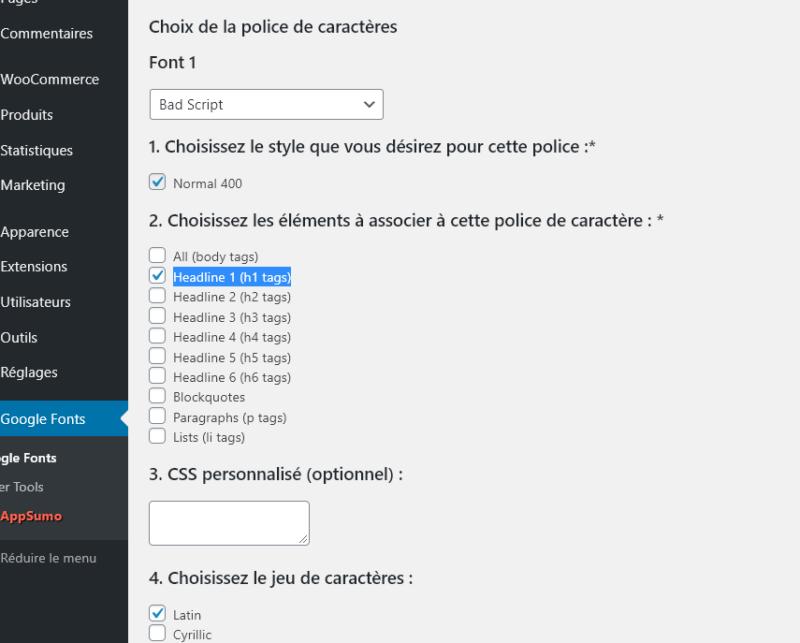 Capture d'écran expliquant comment changer la police sur WordPress avec le plugin WP Google Fonts