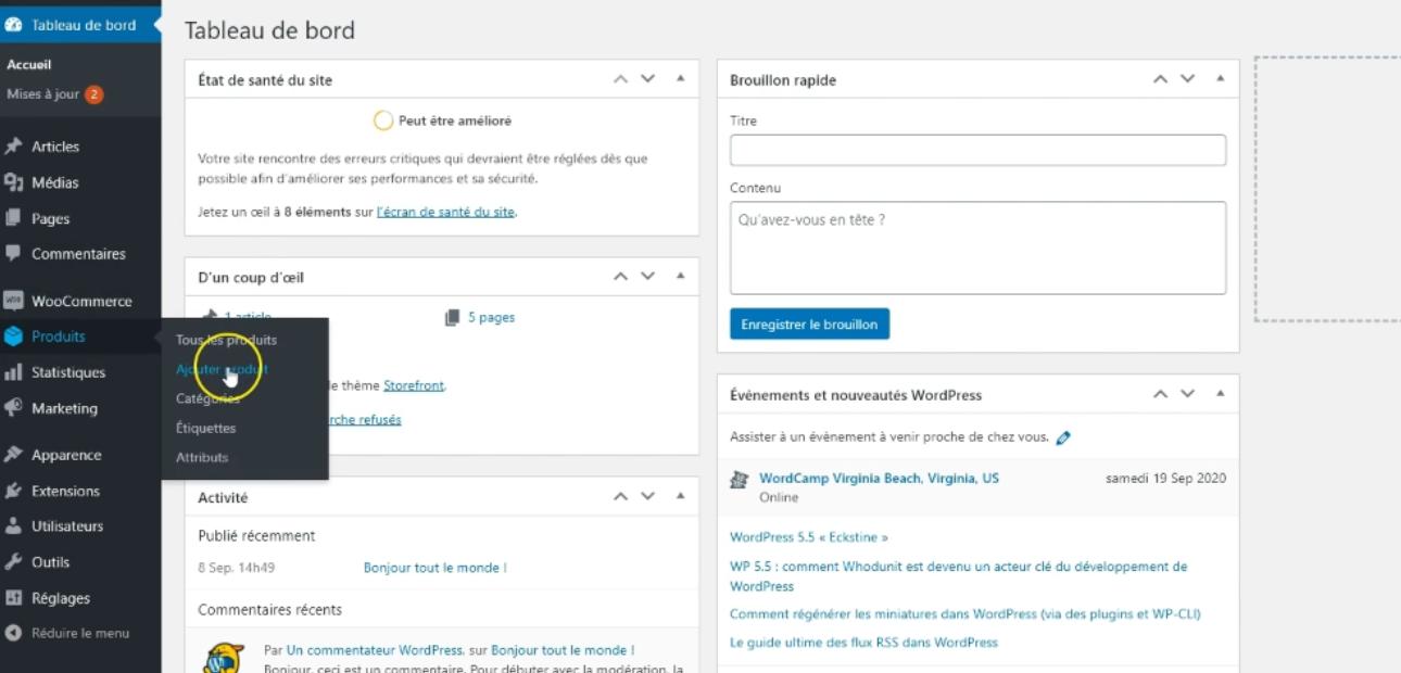 Capture d'écran comment ajouter un produit sur WooCommerce