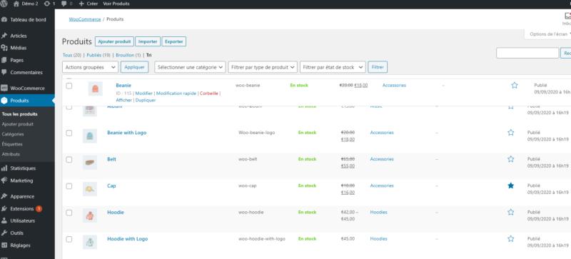 Capture d'écran : comment classer manuellement ses produits sur WooCommerce.