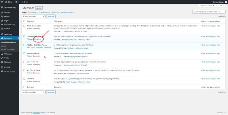 Capture d'écran qui montre comment désactiver une extension WordPress