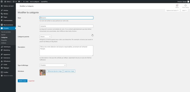 Interface de modification d'une catégorie de produit dans WooCommerce.