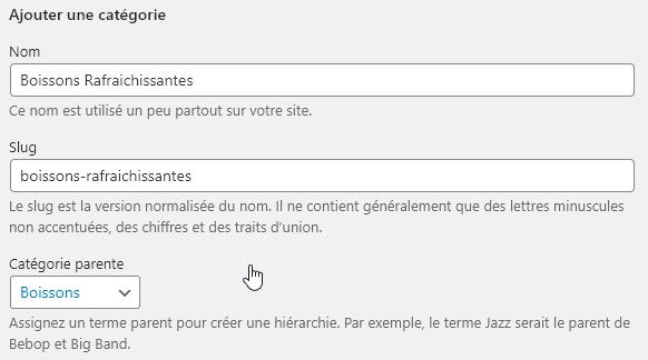 Capture d'écran expliquant comment créer une sous catégorie dans WooCommerce.