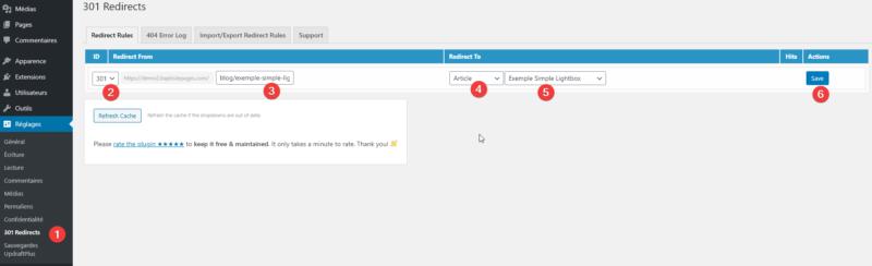 """Capture d'écran détaillant les 6 étapes de la création d'une redirection 301 sur WordPress avec le plugin """"301 redirects""""."""