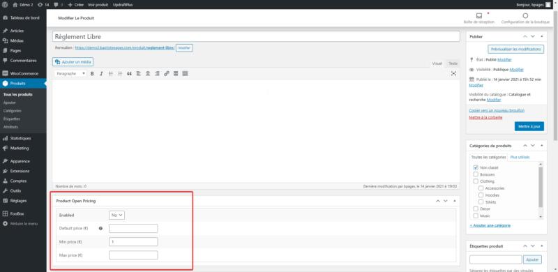 Capture d'écran du panneau de réglage de prix libre sur WooCommerce du plugin Product Open Pricing