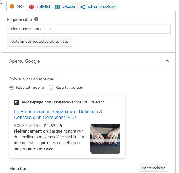 Capture d'écran des réglages d'optimisation du référencement organique pour un article WordPress avec Yoast.