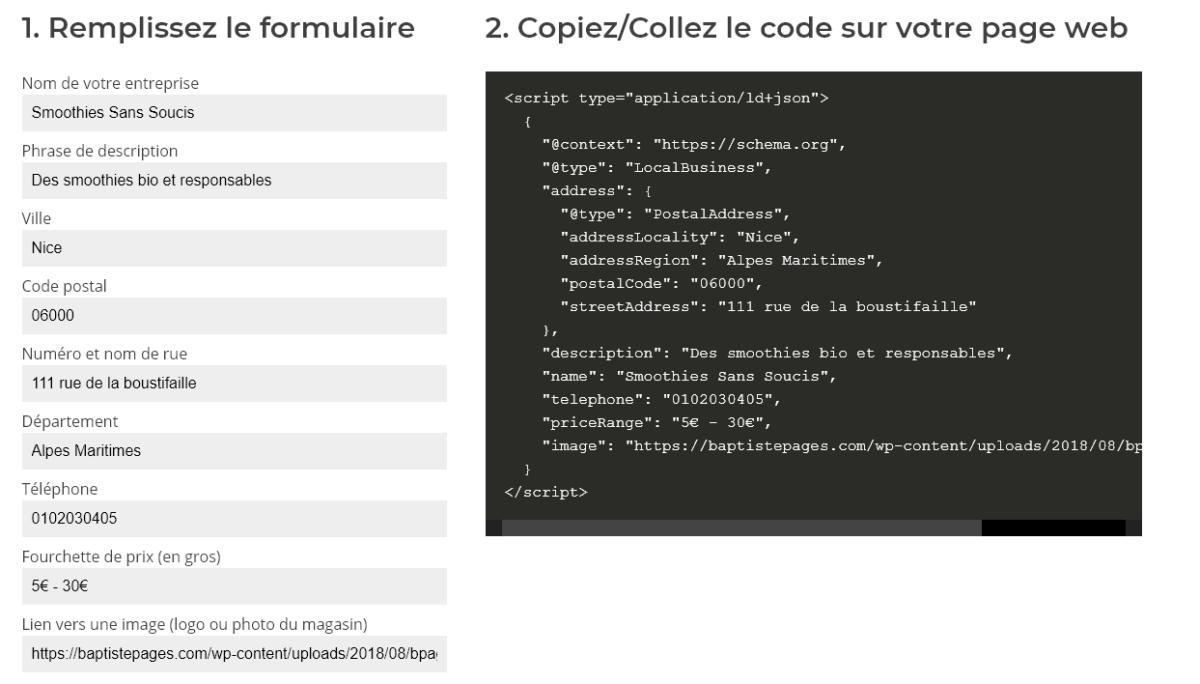 Capture d'écran d'un générateur de code schema.org Local Business