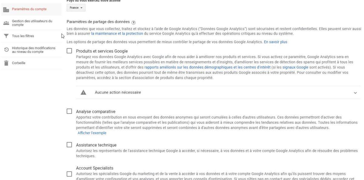 Capture d'écran des réglages de partage des données dans Google Analytics, à décocher pour pouvoir être conforme au RGPD sans popup de consentement de cookies.