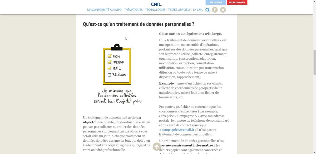 Capture d'écran d'une page web de la CNIL expliquant ce qu'est un traitement des données personnelles.