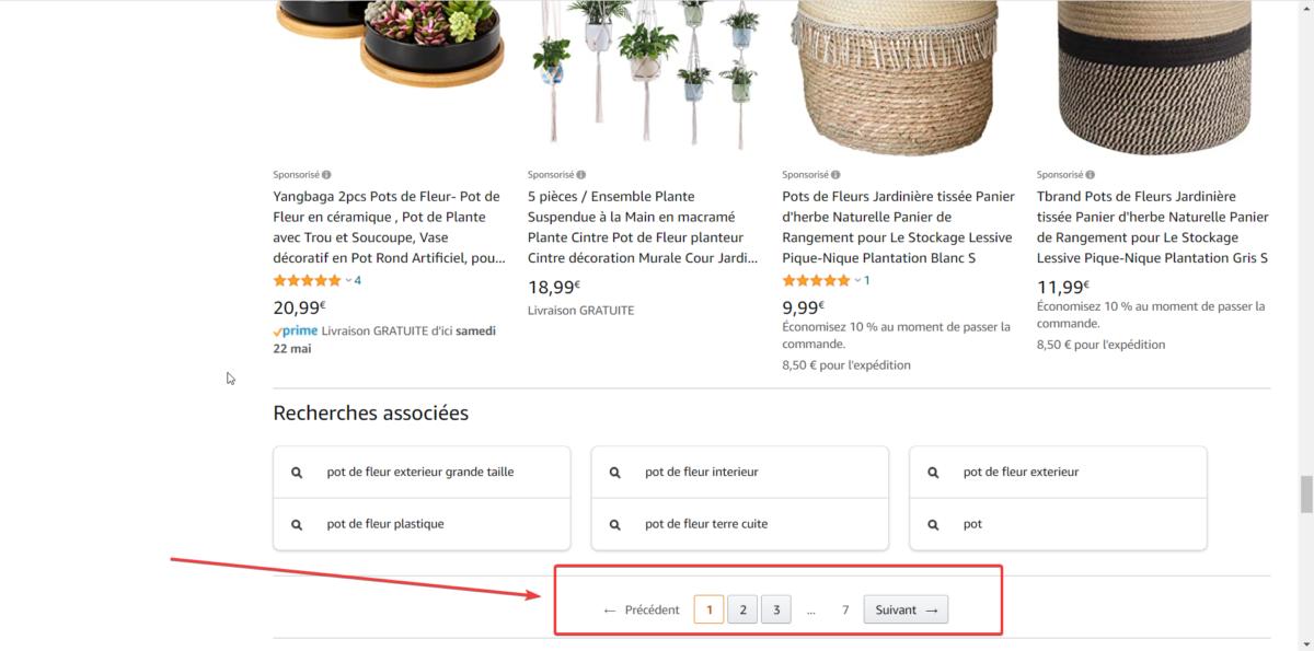 Capture d'écran de la pagination de produits utilisée par Amazon.