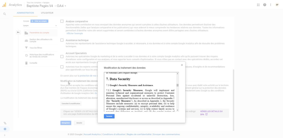 Capture d'écran de l'accord sur le traitement des données dans GA4.
