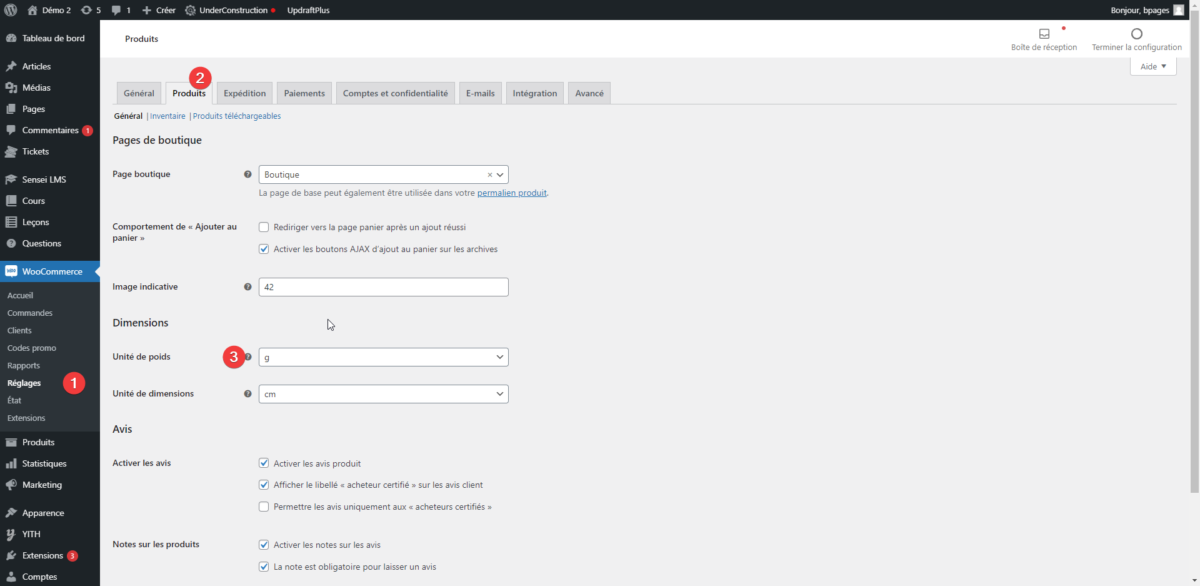 Capture d'écran montrant comment changer l'unité de mesure du poids dans WooCommerce.
