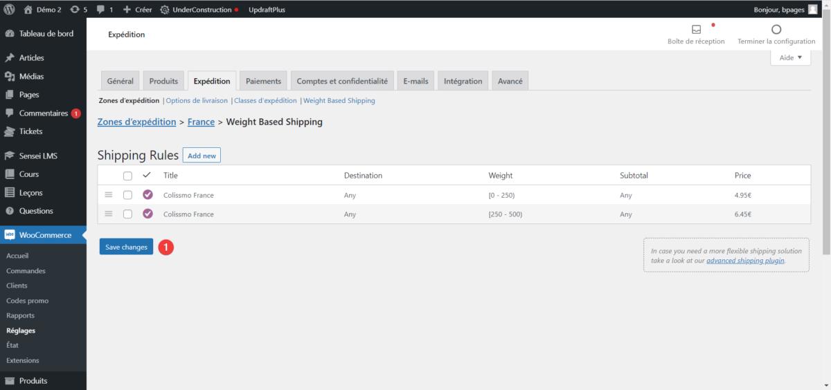 Créer une grille tarifaire de livraison en fonction du poids dans WooCommerce : étape 5