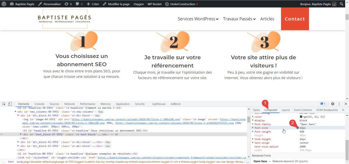 Capture d'écran montrant comment trouver la taille de police d'un site WordPress sur Google Chrome.