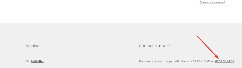 Rendu d'un widget WordPress comprenant un numéro de téléphone cliquable sur le thème StoreFront