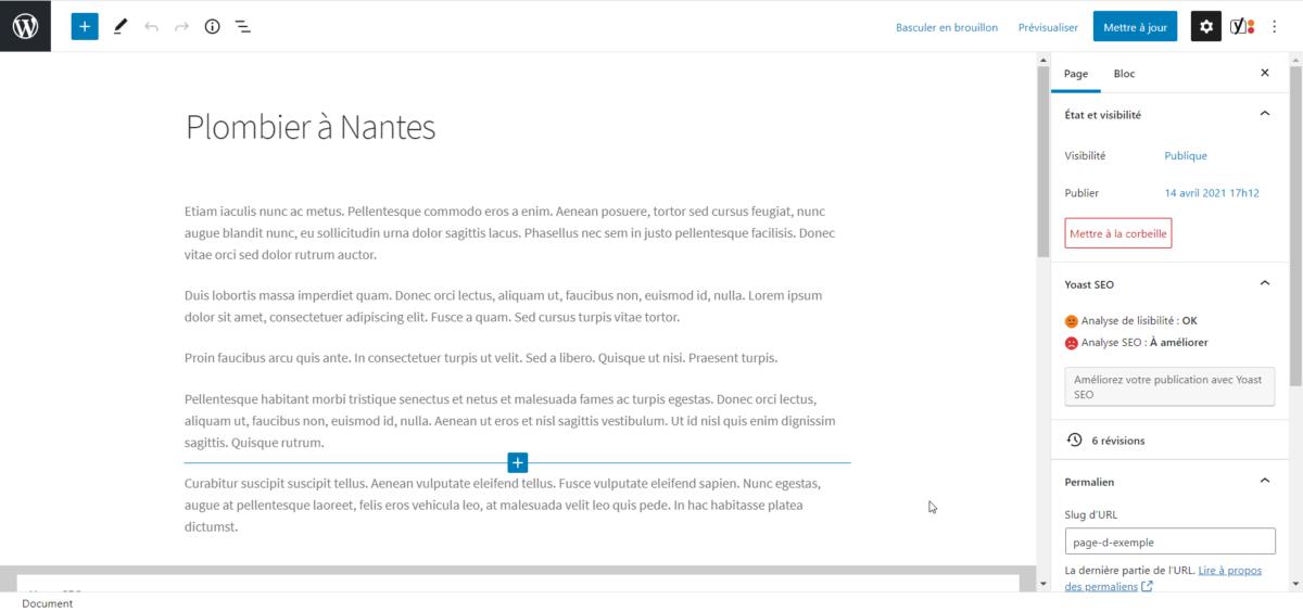 Capture d'écran de l'éditeur Gutenberg dans WordPress