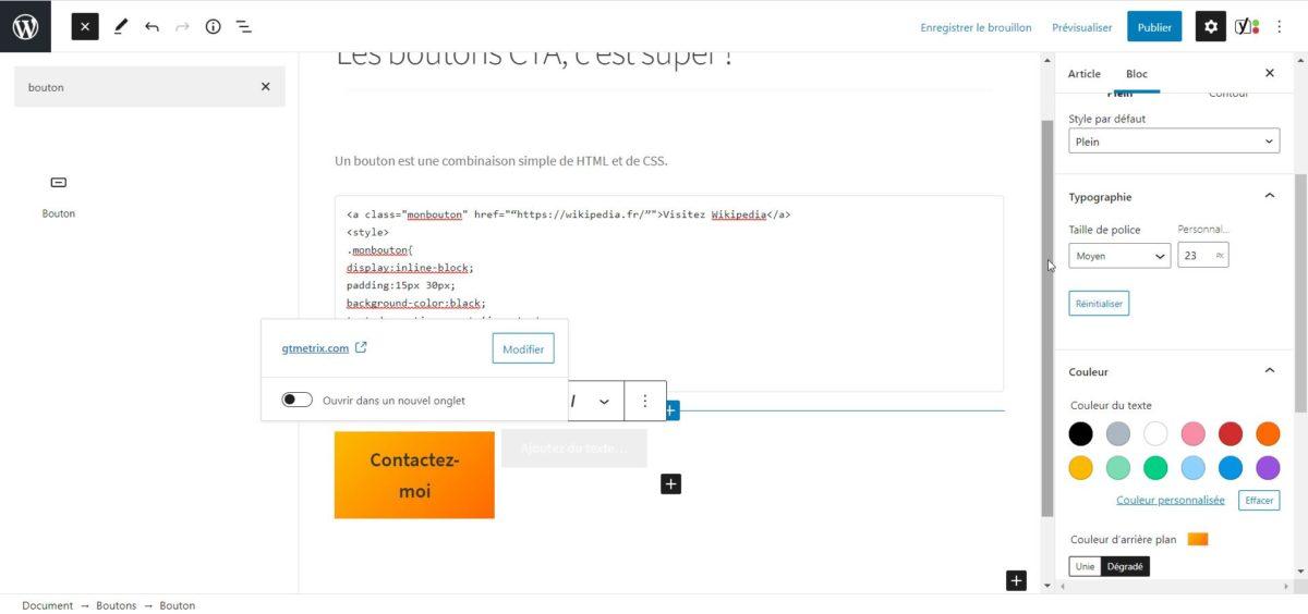 """Capture d'écran montrant les options secondaires du bloc """"bouton"""" de Gutenberg."""