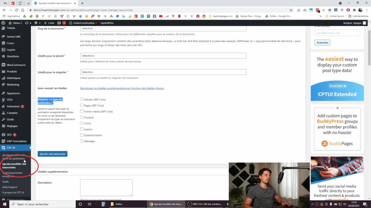 Ajouter une taxonomie personnalisée dans WooCommerce avec CPTUI
