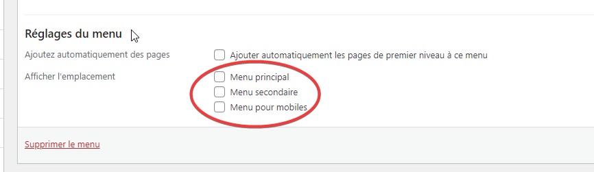 choisir l'emplacement d'affichage du menu WordPress