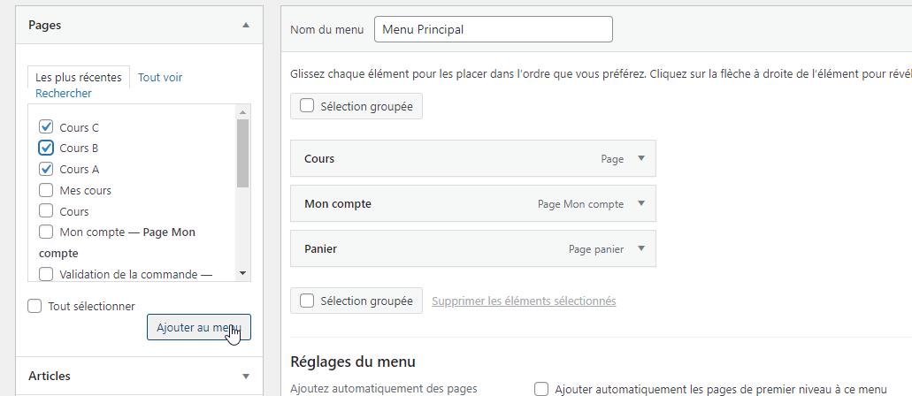 Ajouter des pages à un menu WordPress