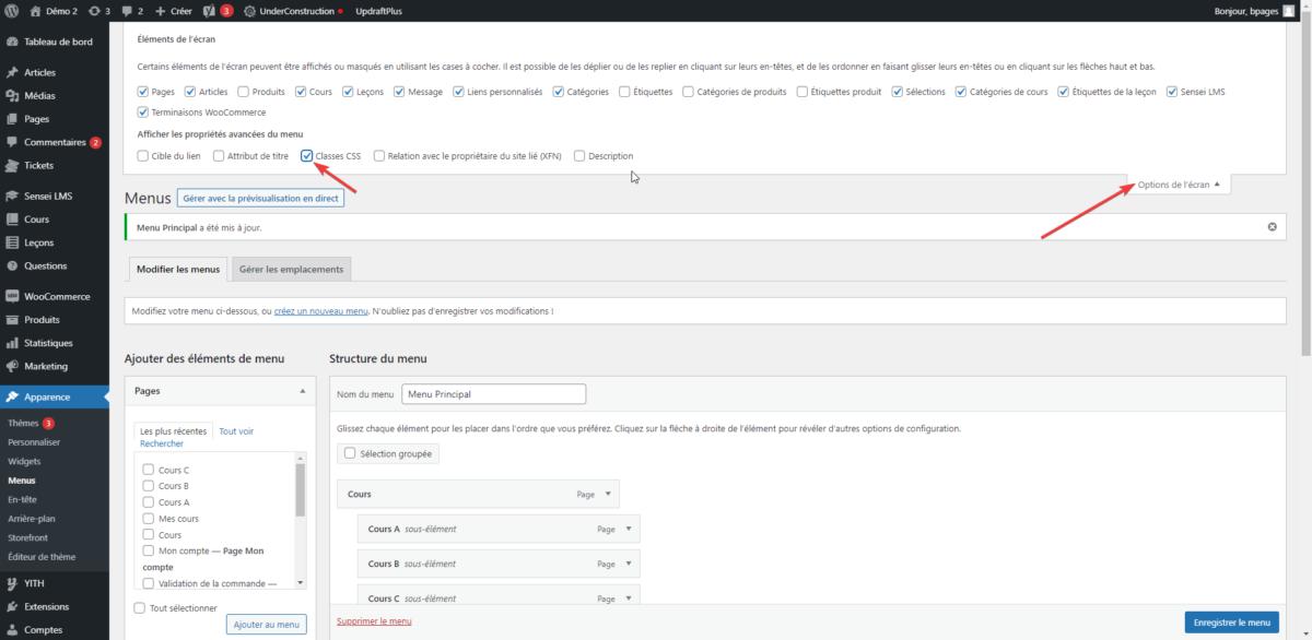 Activer les classes CSS dans un menu WordPress