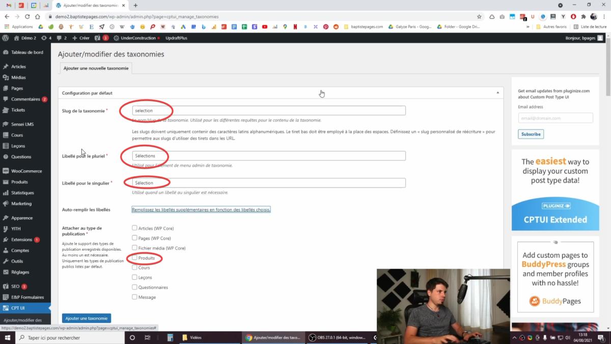 Configurer une taxonomie personnalisée dans WooCommerce avec CPTUI