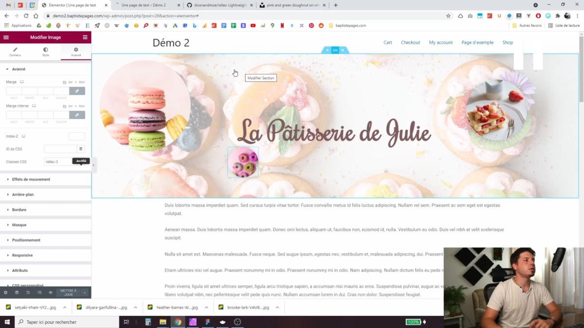 Ajouter des images au haut de page parallax