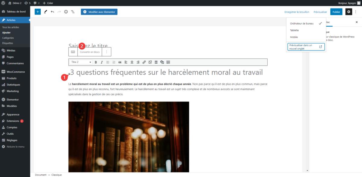 changer un bloc classique WordPress en collection de blocs Gutenberg en un clic