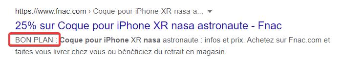 Capture d'écran d'une méta description dans Google utilisant des mots puissants dans sa rédaction (second exemple)