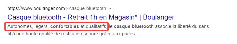 Capture d'écran des résultats Google montrant une méta description mettant en avant des arguments de vente