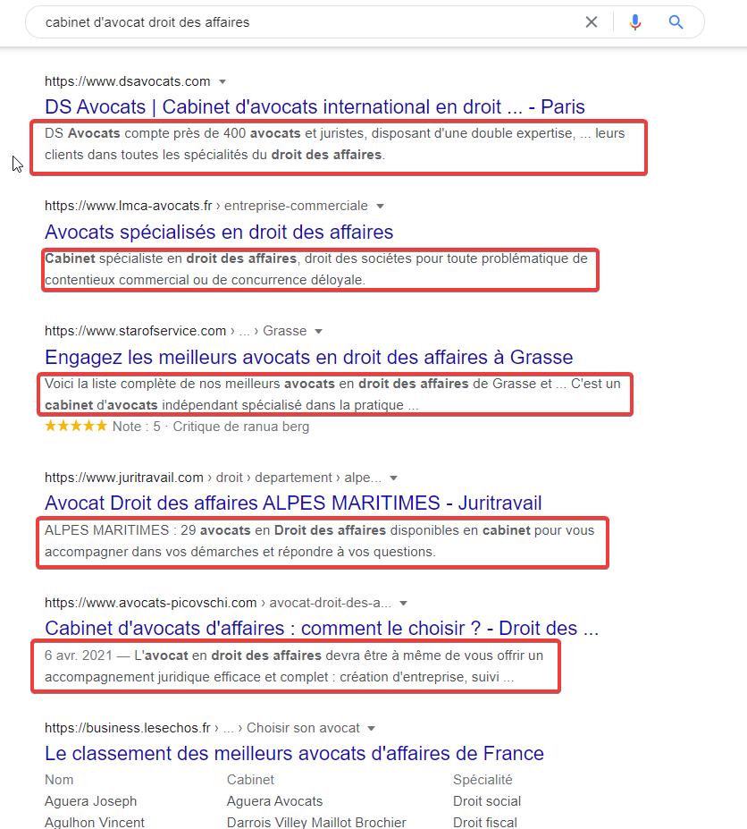 exemples de méta descriptions dans les résultats de Google