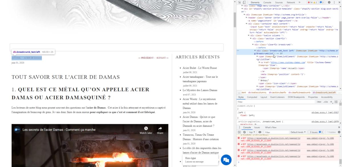capture d'écran d'un fil d'ariane avec la donnée structurée breadcrumblist